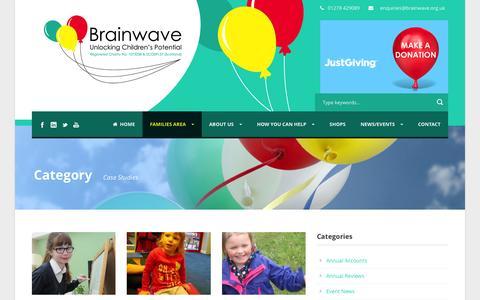 Screenshot of Case Studies Page brainwave.org.uk - Brainwave – Helping Children achieve their potential   » Portfolio Categories » Case Studies - captured Jan. 27, 2016