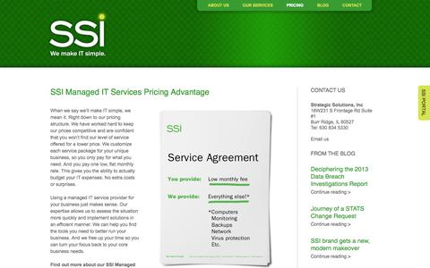 Screenshot of Pricing Page ssichicago.com - SSI, Inc. Managed IT Services Pricing Advantage | SSIchicago.comSSI Chicago - captured Sept. 30, 2014