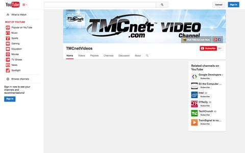 Screenshot of YouTube Page youtube.com - TMCnetVideos  - YouTube - captured Oct. 22, 2014