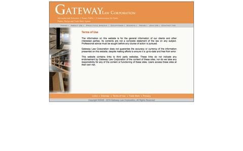 Screenshot of Terms Page gateway-law.com - Gateway Law Corporation - captured Oct. 28, 2016