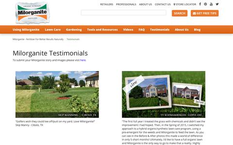 Screenshot of Testimonials Page milorganite.com - Milorganite lawn and garden testimonials - captured Nov. 8, 2017