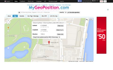 Screenshot of Home Page mygeoposition.com - MyGeoPosition.com - Free address geocoding (latitude, longitude, elevation) / geo-metatags / geotags / kml files! - captured Sept. 25, 2014