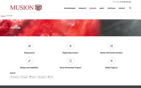 Screenshot of Services Page musion3d.co.uk - Services - Musion 3D - Life Size 3D Holographic ProjectionsMusion 3D - captured Oct. 26, 2014