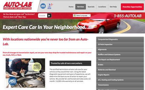 Screenshot of Services Page autolabusa.com - Automotive Services Offered - Auto Lab Complete Car Care - captured Feb. 6, 2016