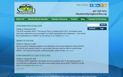 Screenshot of Blog springboroohio.org - Springboro Chamber - blog - captured Feb. 18, 2016