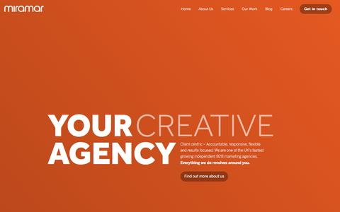 Screenshot of Home Page miramar-group.co.uk - Award Winning B2B Marketing Agency in Oxfordshire | Home | Miramar Group - captured Oct. 18, 2019