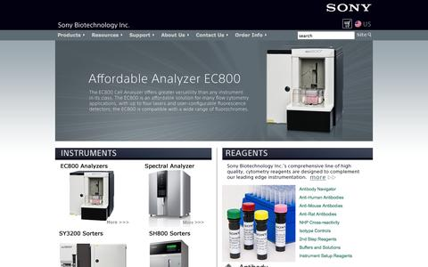 Screenshot of Products Page sonybiotechnology.com - Sony Biotechnology Inc. - Cell Sorters, Flow Cytometers and Reagents :: Contact Us - captured Oct. 6, 2014
