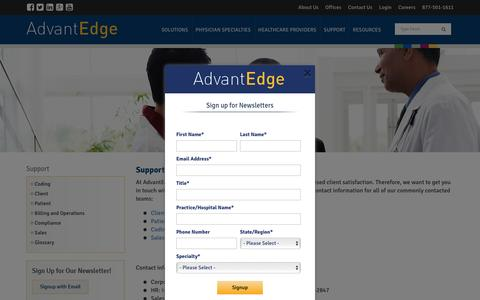 Screenshot of Support Page ahsrcm.com - Support | AdvantEdge Healthcare Solutions - captured Nov. 19, 2016