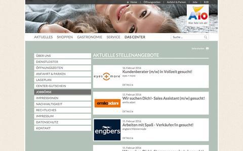 Screenshot of Jobs Page a10center.de - Top-Aktuelle Jobangebote unserer Shops | A10 - captured Feb. 17, 2016
