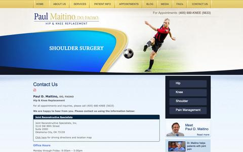 Screenshot of Contact Page Maps & Directions Page hipdocok.com - Dr. Maitino | Knee & Hip Replacement Oklahoma | Sports Injuries Oklahoma - captured Oct. 23, 2018
