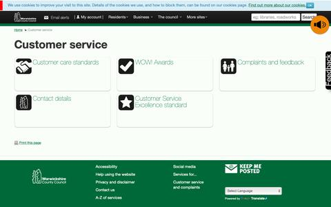 Screenshot of Support Page warwickshire.gov.uk - Customer service  –  Warwickshire County Council - Residents - captured Oct. 18, 2018