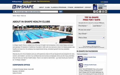 Screenshot of About Page inshapeclubs.com - About Us | In-Shape Health Clubs - captured Sept. 19, 2014