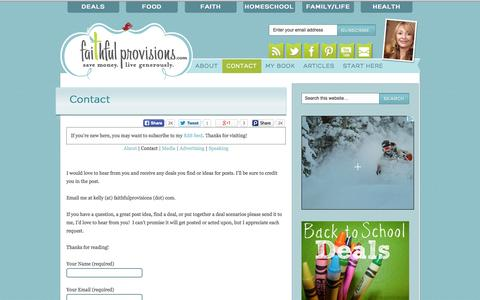 Screenshot of Contact Page faithfulprovisions.com - Contact - Faithful Provisions - captured Sept. 25, 2014