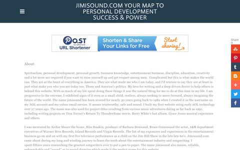 Screenshot of About Page Privacy Page jimisound.com - HELP US SERVE YOU BETTER - Jimisound.com Your map to personal development success & power - captured Nov. 27, 2016