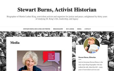 Screenshot of Press Page stewartburnshistory.com - Media - Stewart Burns, Activist Historian - captured Oct. 20, 2018