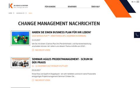 Screenshot of Press Page kraus-und-partner.de - Change Management Nachrichten | Dr. Kraus & Partner - captured Oct. 13, 2017