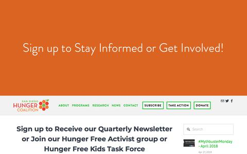 Screenshot of Signup Page sandiegohungercoalition.org - Sign up to Stay Informed or Get Involved! — San Diego Hunger Coalition - captured July 27, 2018