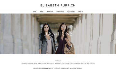 Screenshot of Locations Page juliebethhandbags.com - Locations - ELIZABETH PURPICH - captured Sept. 20, 2018