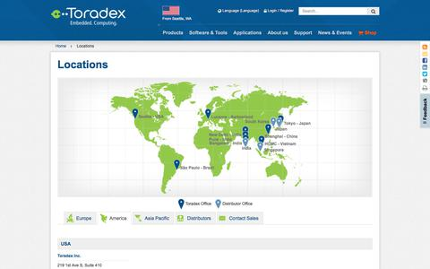 Screenshot of Contact Page Locations Page toradex.com - Toradex's Locations - USA, BR, CH, CN, JP, VN & IN - captured Oct. 20, 2019