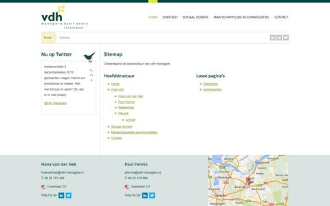 Screenshot of Site Map Page vdh-managers.nl - Sitemap | vdh managers - captured Oct. 26, 2014