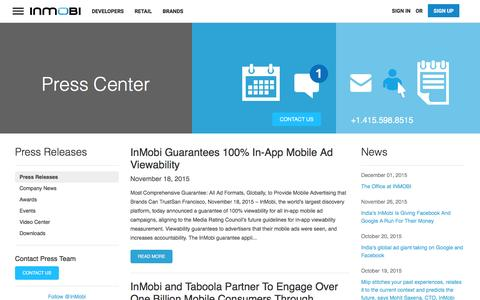 Screenshot of Press Page inmobi.com - InMobi Press Release | Mobile Advertising | Mobile Monetization - captured Jan. 30, 2016