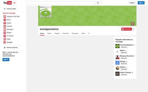 Screenshot of YouTube Page youtube.com - smartgeometrics  - YouTube - captured Oct. 25, 2014