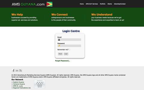 Screenshot of Login Page amsguyana.com - Advertising & Marketing Services Ltd. :: Login - captured Feb. 5, 2016