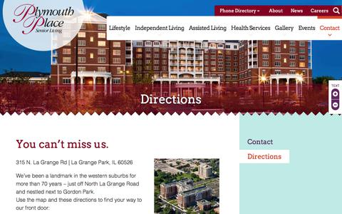 Screenshot of Maps & Directions Page plymouthplace.org - Directions | Plymouth Place | Western Suburbs of Chicago - captured Aug. 12, 2017