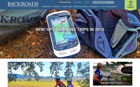 Screenshot of Home Page backroads.com - Backroads Active Travel: Bike Tours, Walking & Family Vacations - captured Dec. 28, 2015