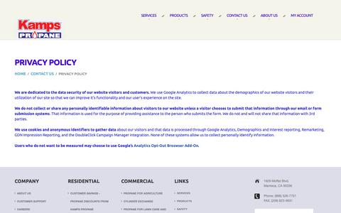 Screenshot of Privacy Page kampspropane.com - Privacy Policy | Kamps Propane | California's Clean Energy Company - captured Nov. 6, 2018
