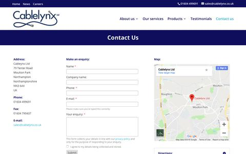Screenshot of Contact Page cablelynx.co.uk - Contact Us for your Cable Assembly Manufacturing Needs | Cablelynx - captured Nov. 4, 2018