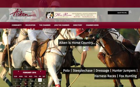 Screenshot of Home Page aikenchamber.net - Aiken Chamber of Commerce - captured Feb. 5, 2016