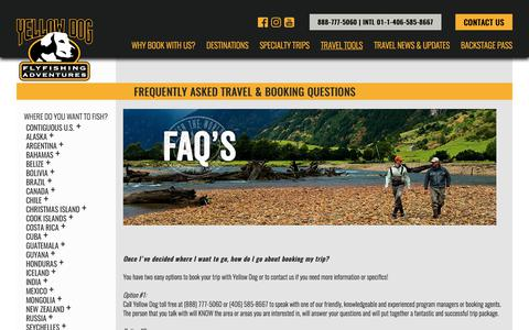 Screenshot of FAQ Page yellowdogflyfishing.com - Frequently Asked Travel & Booking Questions | Yellow Dog Flyfishing Adventures - captured Sept. 30, 2017