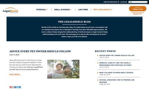 Screenshot of Blog legalshield.com - Blog | LegalShield - captured July 11, 2016
