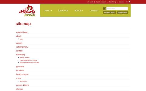 Screenshot of Site Map Page atlantabread.com - sitemap - Atlanta Bread - captured Oct. 4, 2014