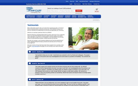 Screenshot of Testimonials Page mcguffmedical.com - Customer Testimonials for the McGuff Company - captured Oct. 27, 2014