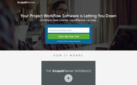 Screenshot of Landing Page liquidplanner.com captured Aug. 31, 2016