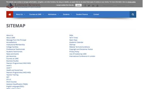 Screenshot of Site Map Page lsme.co.uk - Study with LSME | Highly Trusted College in London - captured Nov. 1, 2014