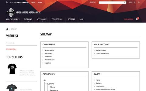 Screenshot of Site Map Page headbangersonline.com - Sitemap - Headbangers Merchandise - captured Sept. 27, 2018