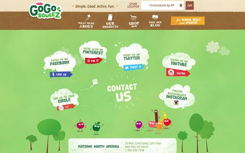 Screenshot of Contact Page gogosqueez.com - Contact | GoGo squeeZ Healthy Snacks - captured Oct. 27, 2014