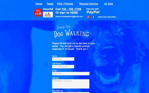 Screenshot of Contact Page jerseycitydogwalking.com - I am looking for a dog walker - captured Dec. 20, 2018
