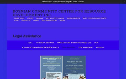 Screenshot of Terms Page bccrd.org - Legal Assistance — Bosnian Community Center for Resource Development Inc. - captured Nov. 23, 2016