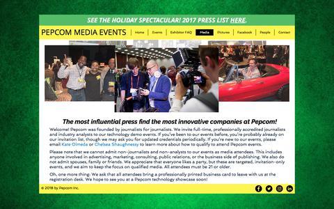Screenshot of Press Page pepcom.com - Pepcom Media - captured July 17, 2018