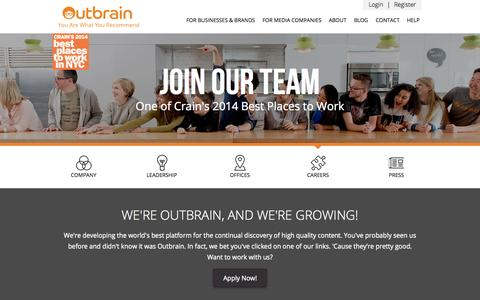 Screenshot of Jobs Page outbrain.com - Outbrain - Careers - captured Nov. 17, 2015