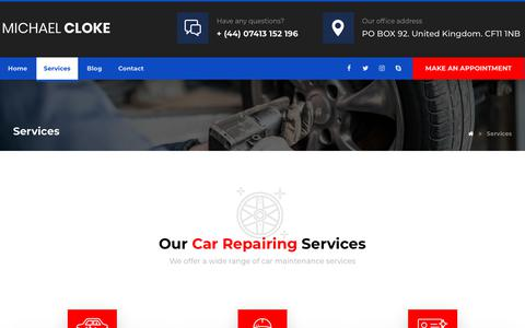 Screenshot of Services Page michaelcloke.com - Services – Michael Cloke - captured Jan. 2, 2020