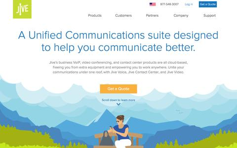Screenshot of Products Page jive.com - A Unified Communications suite designed to help you communicate better. - Jive Communications - captured Oct. 8, 2016
