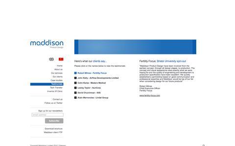 Screenshot of Testimonials Page maddison.co.uk - Innovative Product Design Service - Maddison - captured Oct. 4, 2014