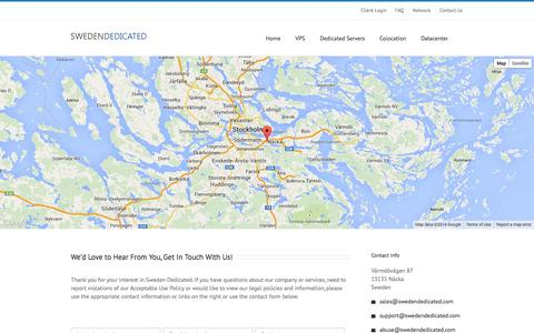 Screenshot of Contact Page swedendedicated.com - Contact Us   Sweden Dedicated - captured Sept. 19, 2014