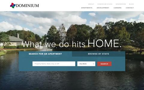 Screenshot of Home Page Menu Page dominiumapartments.com - Dominium Apartments - captured Oct. 9, 2018