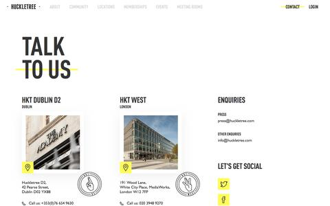 Screenshot of Contact Page huckletree.com - Contact Us - Partnership And Media Enquiries | Huckletree - captured July 13, 2018